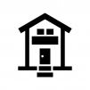 二階建ての家の白黒シルエットイラスト09