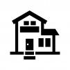 二階建ての家の白黒シルエットイラスト10