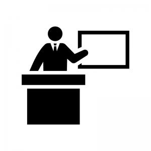 教壇に立つ教師の白黒シルエットイラスト