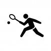 テニスの白黒シルエットイラスト02