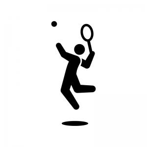 テニスのスマッシュの白黒シルエットイラスト