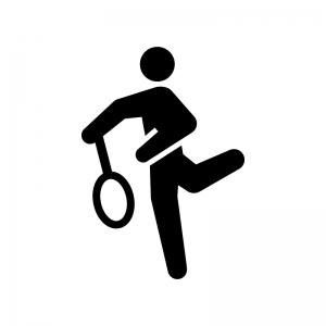 テニスのスマッシュの白黒シルエットイラスト02