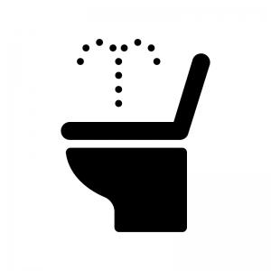 温水洗浄便座のトイレの白黒シルエットイラスト