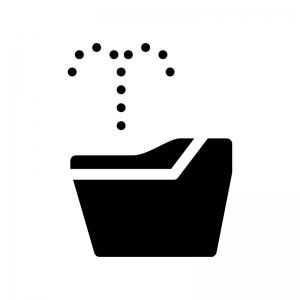 ウォシュレットのトイレの白黒シルエットイラスト03
