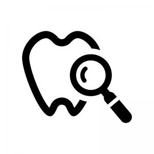 歯の検査の白黒シルエットイラスト