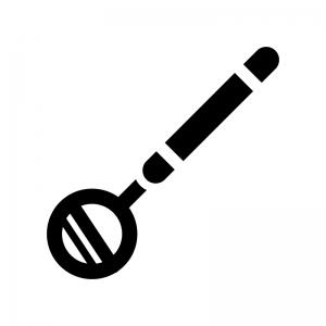 歯科器具・ミラーの白黒シルエットイラスト