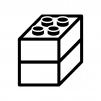 ブロックのおもちゃの白黒シルエットイラスト02