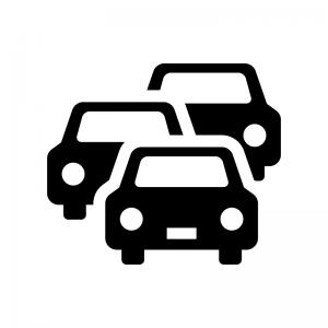 車の渋滞の白黒シルエットイラスト