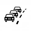 車の渋滞の白黒シルエットイラスト02