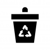 ゴミ箱の白黒シルエットイラスト02
