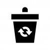 ゴミ箱の白黒シルエットイラスト03
