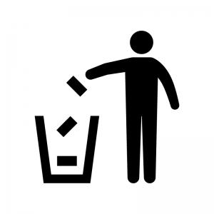 空き缶を捨てる人物の白黒シルエットイラスト