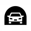 トンネルと自動車の白黒シルエットイラスト