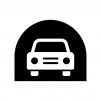 トンネルと自動車の白黒シルエットイラスト02