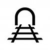 トンネルと線路の白黒シルエットイラスト