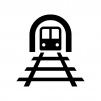 トンネルと線路の白黒シルエットイラスト02
