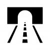 トンネルと道路の白黒シルエットイラスト
