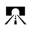トンネルと道路の白黒シルエットイラスト02