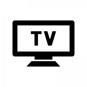 テレビ・モニタの白黒シルエットイラスト02