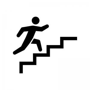 階段を上る白黒シルエットイラスト02