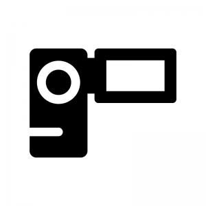 ビデオカメラの白黒シルエットイラスト