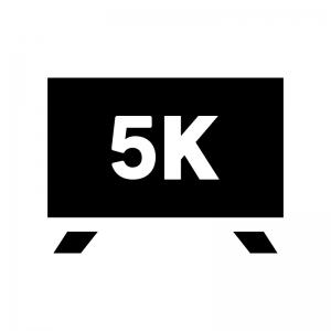 5Kテレビの白黒シルエットイラスト02