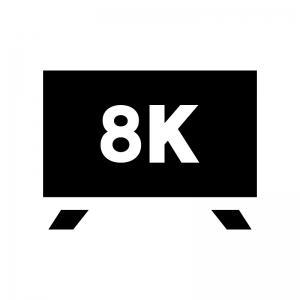 8Kテレビの白黒シルエットイラスト02