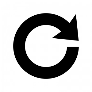 回転・更新の矢印の白黒シルエットイラスト