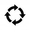 回転矢印の白黒シルエットイラスト