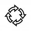 回転矢印の白黒シルエットイラスト02