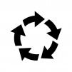 回転矢印の白黒シルエットイラスト03