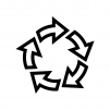 回転矢印の白黒シルエットイラスト04