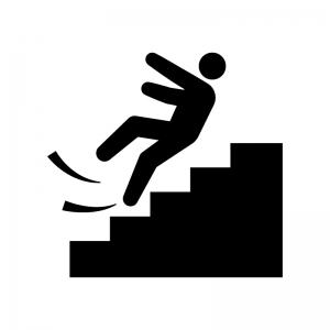 階段にご注意くださいの白黒シルエットイラスト04