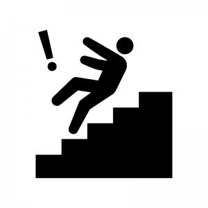 階段にご注意くださいの白黒シルエットイラスト05