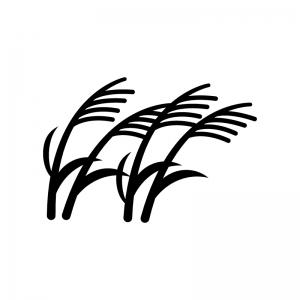 ススキの白黒シルエットイラスト03