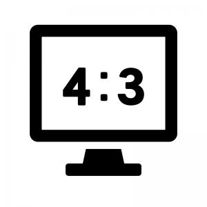 画面比率4:3のテレビ・モニタの白黒シルエットイラスト