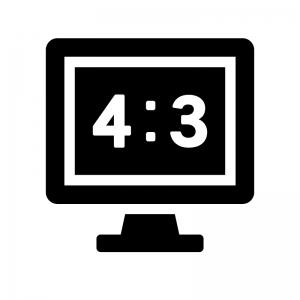 画面比率4:3のテレビ・モニタの白黒シルエットイラスト02