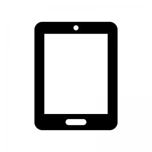 タブレット端末の白黒シルエットイラスト04