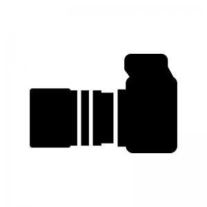 カメラ横アングルのシルエット 無料のaipng白黒シルエットイラスト