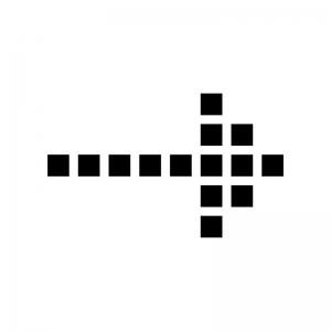 ドットの矢印の白黒シルエットイラスト