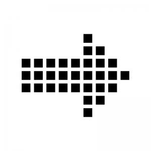 ドットの矢印の白黒シルエットイラスト02