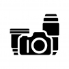 カメラ・ダブルズームキットの白黒シルエットイラスト