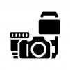 カメラ・ダブルズームキットの白黒シルエットイラスト02