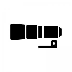 フード付き望遠レンズの白黒シルエットイラスト