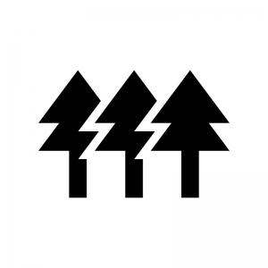 森林の白黒シルエットイラスト03