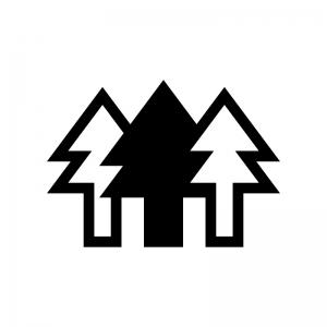 森林の白黒シルエットイラスト04