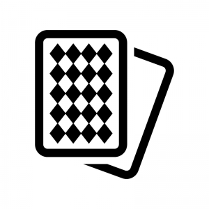 カードゲーム・トランプの白黒シルエットイラスト