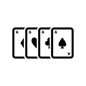 カードゲーム・トランプの白黒シルエットイラスト04