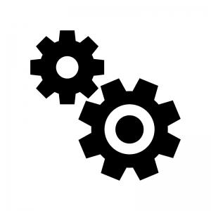 2つの歯車・設定の白黒シルエットイラスト