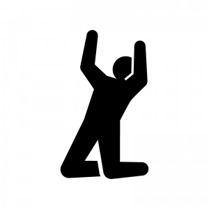 膝をついてガッツポーズの白黒シルエットイラスト